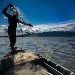 Pescador en el Delta Ebro