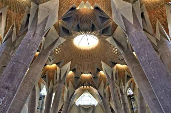 Sagrada Familia en el ensanche de Barcelona, interior basílica