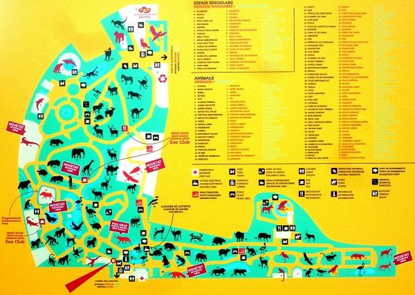 Mapa zonas del zoo de barcelona