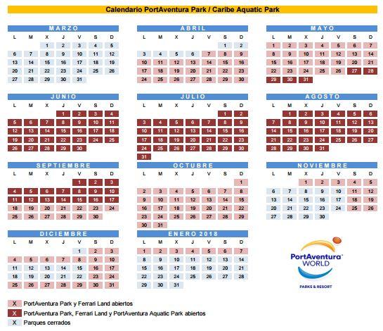 Calendario de Horarios de Port Aventura